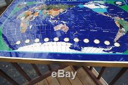 Large Pietra Dura Stones Picture/ World Map/Wall 11 Clocks