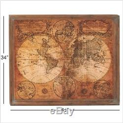 Large Rustic Old World Wooden Wall Map Modern Farmhouse Vintage Wall Art Decor