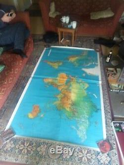 Large Vintage World Map Wall Poster
