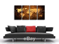 Large Wall Art Print On Canvas Old World Map Retro Atlas Contemporary Home Decor