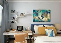 Large World Map Canvas Prints Wall Art for Living Room Office 36x48 Green W