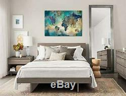 Large World Map Canvas Prints Wall Art for Living Room Office 36x48 Green World