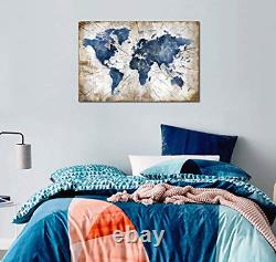 Large World Map Canvas Wall Art Abstract Navy Watercolor World Map With Vintage