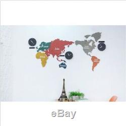 Large World Map Wall Clock Wooden DIY Sticker Puzzle Decor Interior EcoMix Gift