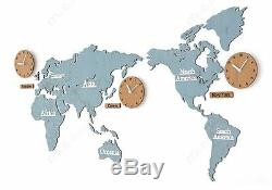 Large World Map Wall Clock Wooden DIY Sticker Puzzle Decor Interior Gift Blue