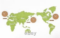 Large World Map Wall Clock Wooden DIY Sticker Puzzle Decor Interior Gift Green