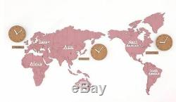 Large World Map Wall Clock Wooden DIY Sticker Puzzle Decor Interior Gift Pink