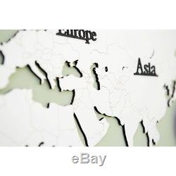 Large World Map Wall Clock Wooden DIY Sticker Puzzle Decor Interior Gift White