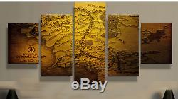 Lord of the Rings World Map Five Piece Framed Canvas Home Decor Wall Art 5
