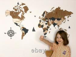 Luxurious 3d Wooden World Map Wall Art Room Decor for Bedroom Office Living Room
