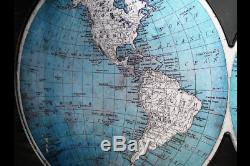 Map Of The World Wall Art Hanging Metal Glass Decor Home School Office Gift