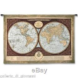 Map Of The World Wall Tapestry 53 x 36 Geographical