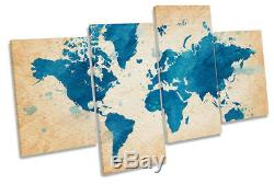 Map World Blue Grunge Picture MULTI CANVAS WALL ART Print