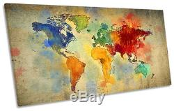 Map World Grunge Multi Colour Framed PANORAMIC CANVAS PRINT Wall Art