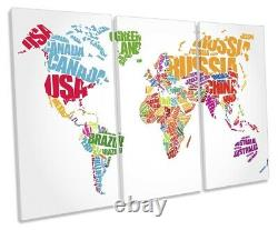 Map of World Country Names Picture TREBLE CANVAS WALL ART Print White