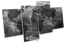 Map of World Grunge B&W CANVAS WALL ART MULTI Box Framed