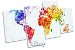 Map of the World Colourful Picture MULTI CANVAS WALL ART Print