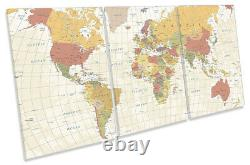 Map of the World Countries Print CANVAS WALL ART TREBLE Picture Beige