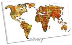 Map of the World Flags Picture PANORAMIC CANVAS WALL ART Print