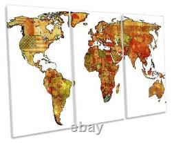 Map of the World Flags Picture TREBLE CANVAS WALL ART Print
