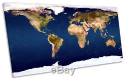 Map of the World Picture PANORAMIC CANVAS WALL ART Print