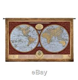 Map of the World Tapestry Wall Hanging H 53 x W 76