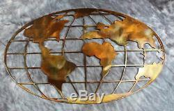 Metal Art World Map 36 wide copper and bronze plated metal wall art decor