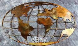 Metal Art World Map 40 wide copper and bronze plated metal wall art decor