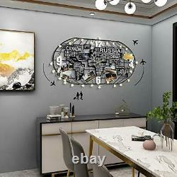 Metal Large Wall Clock Silent Movement, 3D DIY World Map Art Black Clock with LE