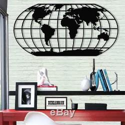 Metal World Map Meridian Wall Art Works Metal Wall Decor Home Office Decoration