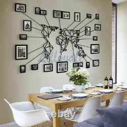 Metal World Map Wall Art Decoration With Photo Frame Set