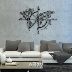 Metal World Map Wall Art Works Compass Metal Wall Decor Home Office Decoration