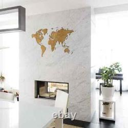 MiMi Innovations Wooden World Map Wall Decor Exclusive 130x78cmm Multi Colours