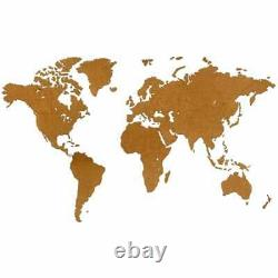 MiMi Innovations Wooden World Map Wall Decoration Luxury Brown HDF 180x108cm