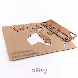 MiMi Innovations World Map Wall Decoration Luxury Brown 150x90cm Wall Map