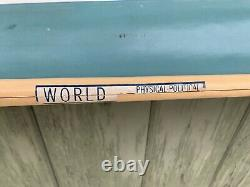 Mid Century 1968 A. J. Nystrom Pull Down School Wall Physical World Map 56x64