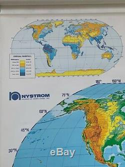 Mid Century Nystrom Pull Down School Wall Physical Political World Map 61x65