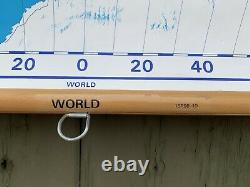 Mid Century Nystrom Write-On Pull Down Physical World Wall Map 56x63
