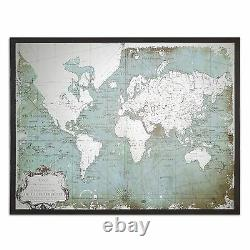 Mirrored Glass World Map Silver Antique Style Oversize Wall Art