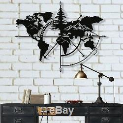Mountains Metal World Map Wall Art Works Metal Wall Decor Home Office Decoration