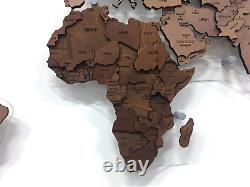 Multi-Level Map Of The World Chocolate Color 3D Wall Art Decor Home Decoration