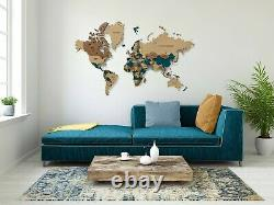 Multi-Level Map Of The World Emerald Color 3D Wall Art Decor Home Decoration