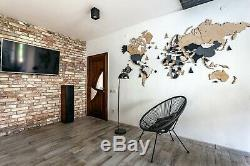 Multi layered Wall Wooden World Map Home Decoration M sz (63 x 37)