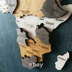 Multilayer wooden map of the world on the wall Brown color Made in Ukraine