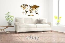Multilayered Wooden World Wall Map M size 43 x 24 Multicolored Map