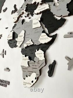 Multilayered Wooden World Wall Map in Black and white colors XL size 78 x 39