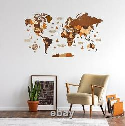 Multilayered Wooden World Wall Map in Brown Colors M size 43 x 24