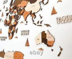 Multilayered Wooden World Wall Map in Brown Colors XL size 78 x 39