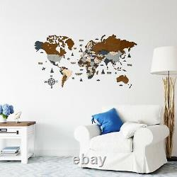 Multilayered Wooden World Wall Map in Dark Brown and Grey M size 43 x 24