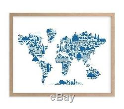 NEW Pottery Barn Kids Little Big World Map Wall Art By Minted NATURAL + BLUE